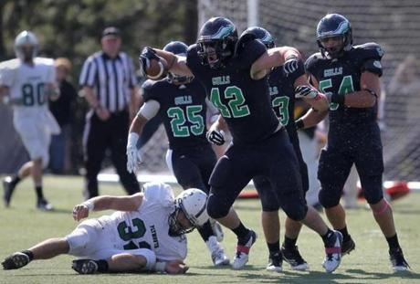 Kevin Eagan (42) and the Endicott Gulls are soaring this season, with a 7-0 record and realistic thoughts of making noise in the NCAA Division 3 playoffs.